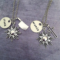 Crank and Munie Best Friends Necklaces - Maze Runner Inspired Necklace - Fandom Jewelry - The Maze Runner Jewelry - Best Friends Jewelry