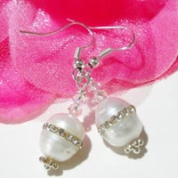 Bridal White Pearl Earrings, Freshwater Pearl Inlaid Swarovski  Sterling Silver Earrings