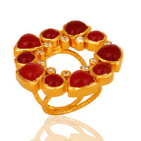 Natural Red Aventurine 22K Yellow Gold Vermeil Split Shank Ring With CZ