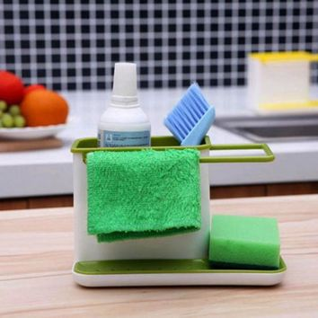 Caddy Self Draining Sink Aid Organizer Brush Sponge Cleaning Cloth Holder Flower Type Kitchen Storage Draining Rack Dishs Holder