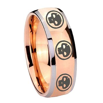 8MM Rose Gold Dome Multiple Skull 2 Tone Tungsten Carbide Laser Engraved Ring