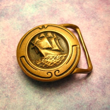 Brass Pirate Ship Buckle - Vintage Brass Buckle - Barque Ship - Vintage Boat - Belt Buckle - Pirate Costume - Cosplay