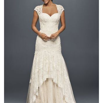 Tiered Lace Mermaid Wedding Dress with Beading - Davids Bridal