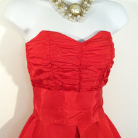 Red Hot Red Carpet Gown- 80s Strapless Gown - Marilyn Monroe Diamonds Are A Girl's Best Friend - Vintage Prom - FREE SHIPPING