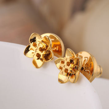 Accessory Gold Floral Alphabet Earring Fashion Jewelry [6573074503]