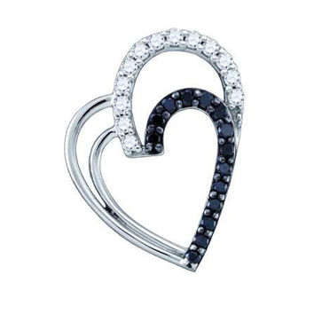 Black Diamond Heart Pendant in 10k White Gold 0.31 ctw