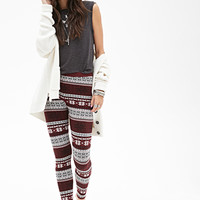 FOREVER 21 Fair Isle Patterned Leggings Wine/Black