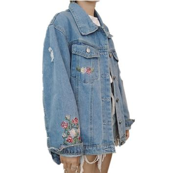 Spring Autumn Women Embroidered Denim Jacket Chamarras Mujer Washed Jeans Jacket Women Basic Coats Casual Bomber Jacket C2905