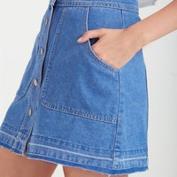 the mini button thru denim skirt