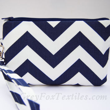 Navy blue chevron wristlet, clutch, zipper pouch, handbag, wallet