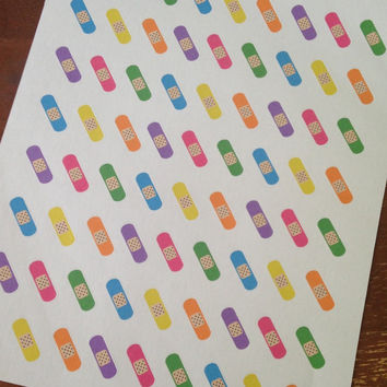 Set of 63 Pre-cut Neon Bandaid Stickers   - Perfect for your planner or scrapbook