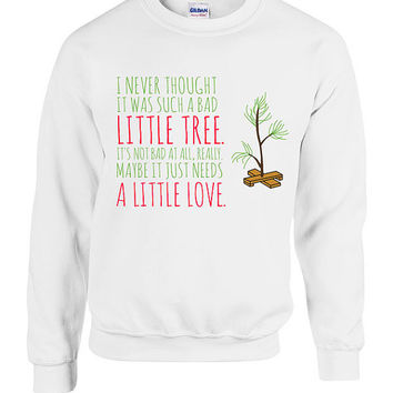 Christmas Tree Sweater Crewneck Sweatshirt Gift xmas Special Linus Present Movie Quote Holiday Festive Funny Cute Family Love Holiday TT06
