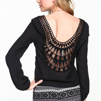 CUT OUT SCOOPBACK BLOUSE