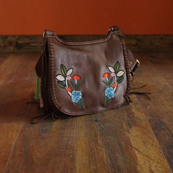 Brown Embroidered Cross Body Bag with Fringe