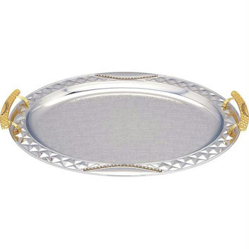 Sterlingcraft Oval Serving Tray With Gold-tone Handles