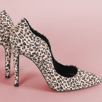 Leopard Pumps For Women Qupid Leopard Women's Pointy Toe High Heel Stiletto Pumps With Big Bowknot By Qupid | Qupid Leopard Wavy Edge Stiletto Pump
