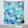 Cobalt Blue, Aqua & Gold Decorative Moroccan Tile Pattern Wall Tapestry by Micklyn