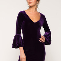 Velvet Delight Bell Sleeve Dress
