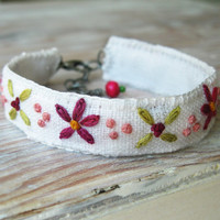 Embroidered Bracelet - Pink and Green on White