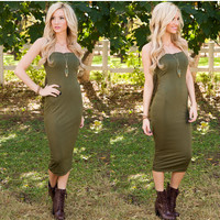 Side Step Midi Dress - Olive