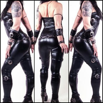 Dimension - Buckled WETLOOK Leggings EBM Industrial Gothicwear Cyberwear Cyberpunk Leatherpants Leather Pants Tights Stylish Hot Sexy