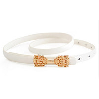 White Butterfly-Deco Shaped Waist Belt