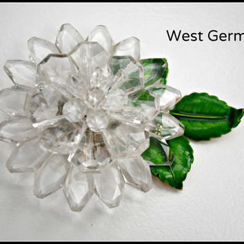 Vintage West Germany Lucite enamel Flower brooch