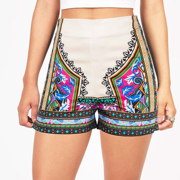 Mixed Motif High Waist Shorts