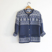 Vintage Snowflake sweater. Winter sweater cardigan. Blue & white. Holiday sweater. Tacky Christmas sweater / size large