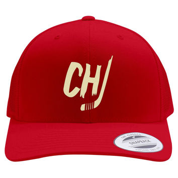 Chicago Blackhawks Embroidered Retro Embroidered Trucker Hat