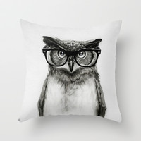 Mr. Owl Throw Pillow by Isaiah K. Stephens   Society6