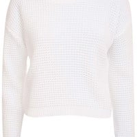 Larissa Waffle Knit Cropped Jumper in White
