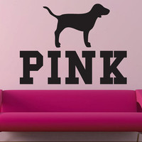 Pink Victoria's Secret Pink with dog wall decal