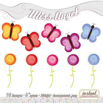 """BUY 2 GET 1 FREE, buy 4 get 2 free! Butterflies clipart, 5 Digital Flowers and 5 Butterflies. 6"""" clipart printable illustrations"""