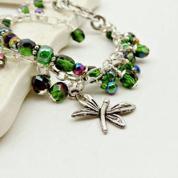 Dragonfly Charm Bracelet - Emerald Green - Rainbow Hematite - Double Layer - Statement Jewelry
