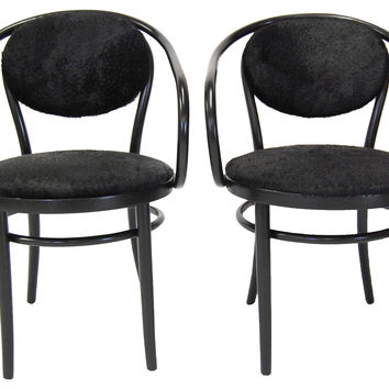 Thonet Chairs w/ Cowhide, Pair
