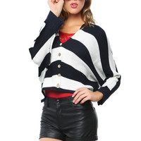 Papaya Clothing Online :: V-NECK STRIPE RAGLAN CARDIGAN