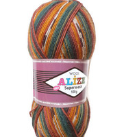 "Sock yarn sale, Superwash Sock Yarn ""Alize"", Boho yarn, Destash yarn, Fancy yarn, Wool Yarn Destash, Variegated Sock Yarn"