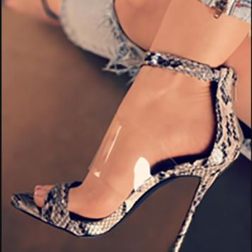 Hot style hot selling sexy snake pattern with PVC film heels