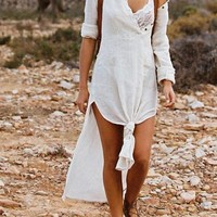 New White Single Breasted Irregular High-low Side Slit Distressed Boho Maxi Dress