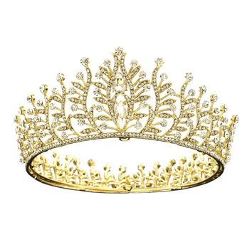 DK FASHION Full Crown Princess Flower Crystal Girls Hair Tiara Crown hair jewelry