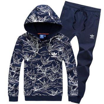 NOV9O2 Adidas Top Sweater Pullover Hoodie Pants Trousers Set Two-Piece Sportswear-5