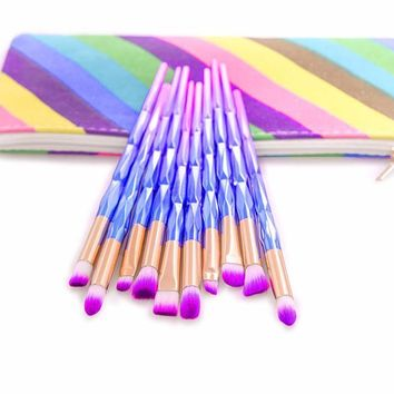 10Pcs Eyeshadow Makeup Brushes Rainbow Makeup Brushes Set with bag
