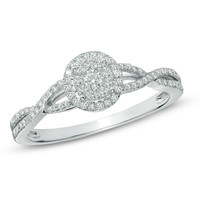 1/4 CT. T.W. Diamond Frame Twist Shank Promise Ring in 10K White Gold