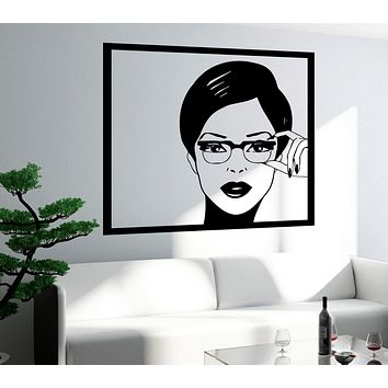 Wall Sticker Sexy Girl Woman Teen In Glasses Pop Art Bedroom Unique Gift (z2588)