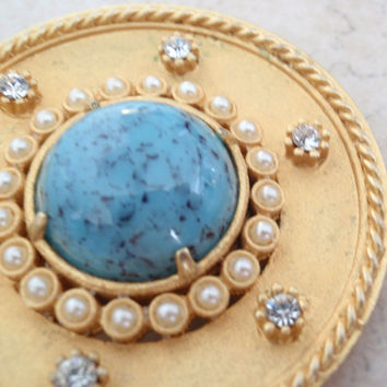 Turquoise Pearl Brooch Large Round Bright Gold DeNicola Etruscan Style Vintage 110416RC