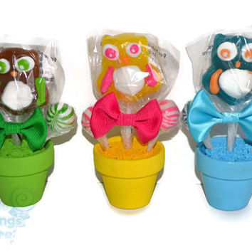 Mini Owl Lollipop Arrangement, Mini Owl Lollipop Favor, Candy Favor, Edible Favor, sweet 16, sweet sixteen favor, lollipop favor, birthday