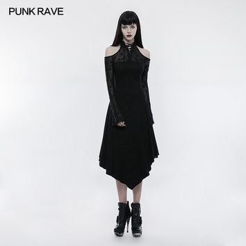 Gothic Dark lace spliced Off the shoulder Dress Punk Rave Sexy Victorian Visual Kei OPQ250