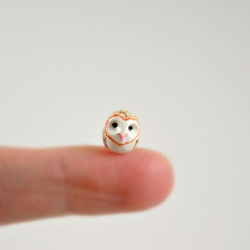 Micro Barn Owl  Hand Sculpted Miniature by MadeWithClayAndLove