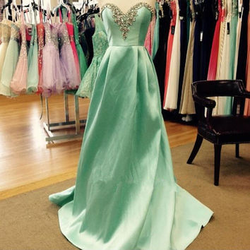 Green Satin Sweetheart Long Prom Dresses,Prom Dress